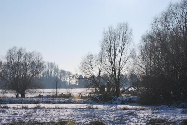 Die Landschaft ist typisch niederrheinisch, der Schnee eher nicht.